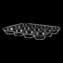 12 lyukú muffinsütő márvány bevonattal, metál külső bevonattal, fekete