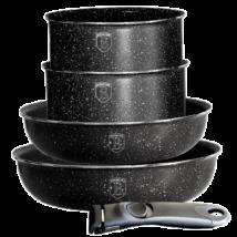 4+1 edénykészlet kő hatású márvány bevonattal, fekete