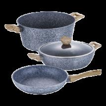 4 részes edénykészlet kő hatású márvány bevonattal, világos fa mintázatú fogókkal