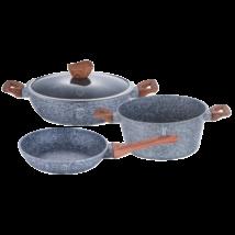 4 részes edénykészlet kő hatású márvány bevonattal, fa mintázatú fogókkal