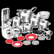 32 részes Jumbo rozsdamentes acél edénykészlet szatén díszcsíkokkal