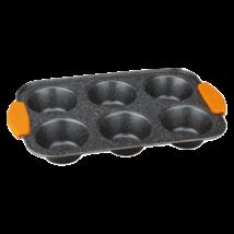 6 lyukú muffinsütő tepsi márvány bevonattal, levehető szilikon fogóval