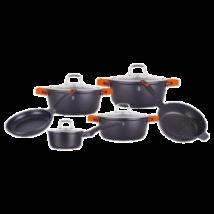 10 részes edénykészlet márvány bevonattal, szilikon fogókkal, fekete/narancs