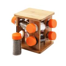 9 részes forgatható bambusz fűszertartó készlet