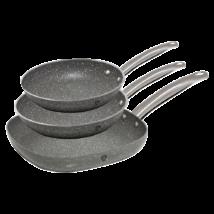 3 részes rozsdamentes acél serpenyőkészlet tapadásmentes kő hatású bevonattal, szürke