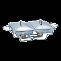 Melegen tartó téglalap alakú osztott tálaló edény hőálló üvegből, fedővel, 3L