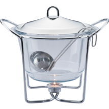 Melegen tartó leveses tálalóedény hőálló üvegből, fedővel, merőksnállal
