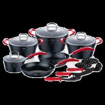 15 részes edénykészlet kő hatású márvány bevonattal, szilikon fogókkal, fekete/piros