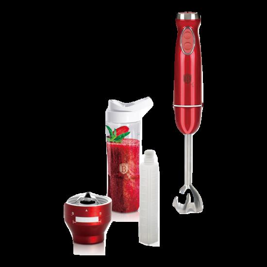 Botmixer készlet műanyag hordozható ivópalackkal, hűtőrúddal, 600 W,  burgundy