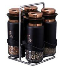 Berlinger Haus Black Rose Collection 5 részes fűszertartó készlet állvánnyal, fekete/rosegold