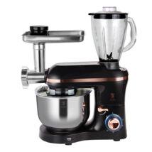 Multifunkcionális elektromos konyhai robotgép rozsdamentes keverőtállal, 6 liter, 1400 W, fekete/rosegold