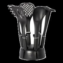 7 részes nylon konyhai eszköz készlet állvánnyal, fekete/ezüst