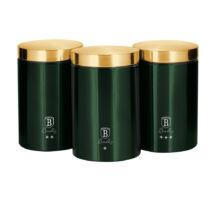 Berlinger Haus Emerald Collection 3 db-os tárolódoboz készlet külső metál bevonattal, smaragdzöld