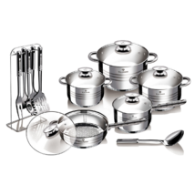 17 részes Jumbo rozsdamentes acél edénykészlet