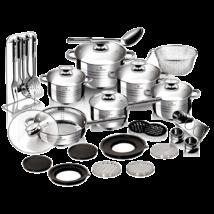 32 részes Jumbo rozsdamentes acél edénykészlet szatén díszcsíkokkal, fekete