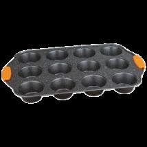 12 lyukú muffinsütő tepsi márvány bevonattal, levehető szilikon fogóval