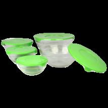 10 részes üveg tárolóedény készlet műanyag fedővel