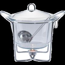 Melegen tartó leveses tálaló edény hőálló üvegből, fedővel, merőkanállal, 4L