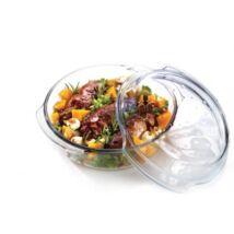 Különleges kialakítású ovális hőálló üveg sütőedény fedővel, 1.7 L