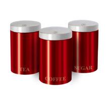 3 db-os konyhai tárolódoboz készlet külső metál bevonattal, burgundy