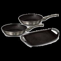 3 részes serpenyő- és grillkészlet márvány bevonattal, metál külső bevonattal, carbon