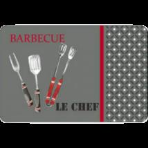 Chef Barbecue műanyag tányéralátét, 28,5*44 cm, szürke/piros