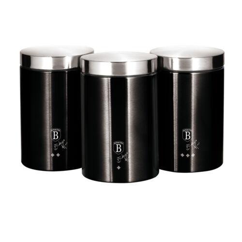 Berlinger Haus Black Silver Collection 3 db-os tárolódoboz készlet külső metál bevonattal, fekete/ezüst