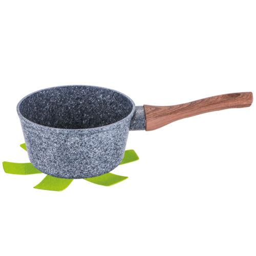 Szószos/tejforraló edény kő hatású márvány bevonattal, fa hatású nyéllel, 16 cm