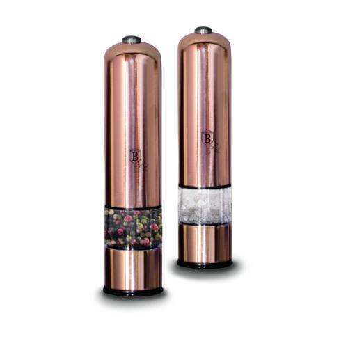Berlinger Haus Metallic Rosegold Line 2 db-os elektromos fűszermalom készlet metál külső bevonattal, LED fénnyel