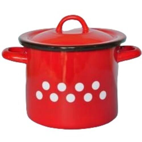 Zománcozott retro fazék fedővel, 1 L, piros pöttyös